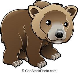 Süße Grizzlybraune Bärenvektor-Illustration