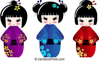 Süße Kokeshi-Puppen