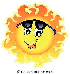 Süße lustige Sonne mit Sonnenbrille