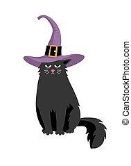 Süße schwarze Katze in Halloweenhut