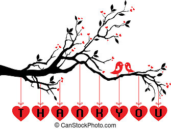 Süße Vögel mit roten Herzen