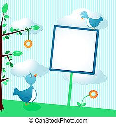 Süße Vögel mit Schild