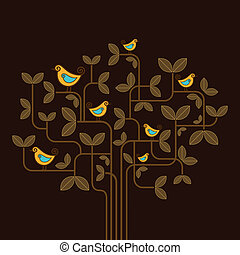 Süße Vektorvögel auf einem Baum