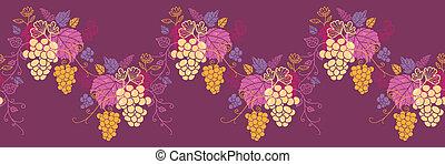 Süße Weinreben horizontale, nahtlose Wellengrenzen