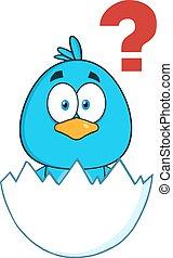 Süßer blauer Vogel-Cartoon Charakter.