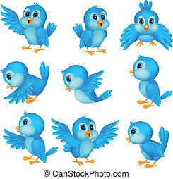 Süßer blauer Vogel-Zeichentrickfilm