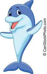 Süßer Delfin Cartoon winkt