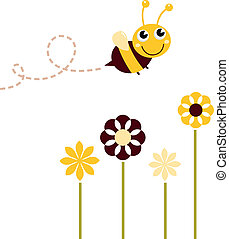 Süßer fliegender Bee mit Blumen isoliert auf weiß