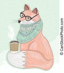 Süßer Hipster Fuchs mit Gläsern trinken