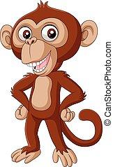 Süßer, kleiner Schimpanse, Cartoon posing.