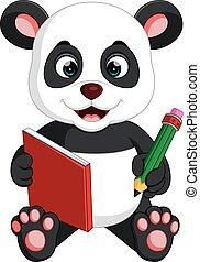 Süßer Panda, der ein Buch liest.
