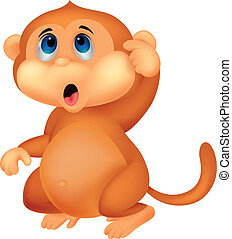 Süßes Affen-Cartoon-Gedanken