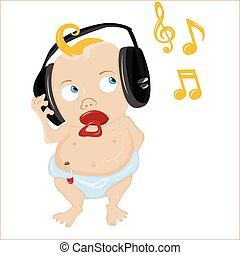 Süßes Baby, das Musik hört.