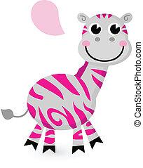 Süßes rosa Zebra isoliert auf weiß