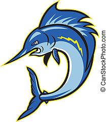 sailfish, springende , schwertfisch, karikatur