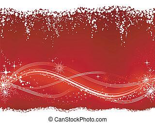 Saisonaler Hintergrund mit einem wappigen Linienmuster am unteren Drittel mit Sternen, Schneeflocken, Grungeelementen.