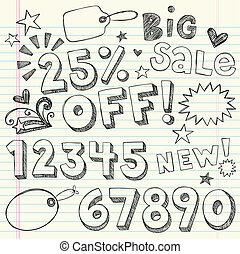 Sale Rabatt-Doodles Vektor