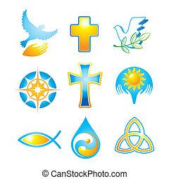 Sammelreligiöse Symbole.