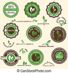 Sammlung organischer Etiketten und Ikonen
