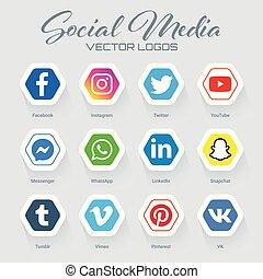 sammlung, populär, logos, medien, sozial