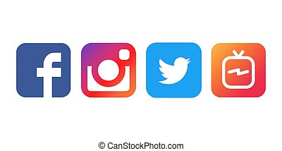 Sammlung populärer Social Media Logos gedruckt auf weißem Papier, Vektor.