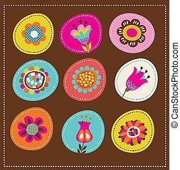 Sammlung süßer dekorativer Blumen, Grußkarte