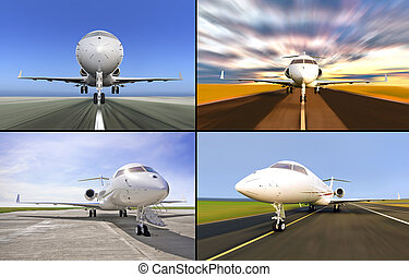 Sammlung vier Luxus-Private Jets landeten oder während des Starts