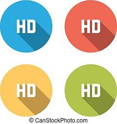 Sammlung von 4 isolierten flachen farbigen Tasten für HD-Schild.
