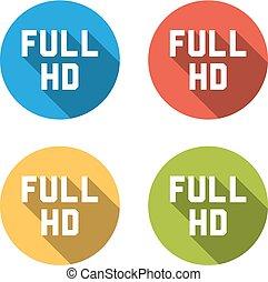 Sammlung von 4 isolierten Flachtasten (Eisen) mit FULL HD Zeichen.