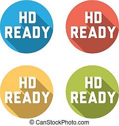 Sammlung von 4 isolierten Flachtasten (Eisen) mit HD READY Zeichen.