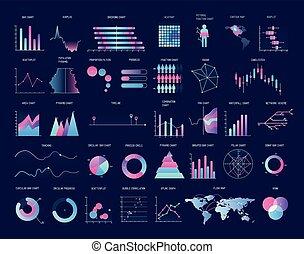 Sammlung von farbigen Diagrammen, Diagrammen, Graphen, Plots verschiedener Arten. Statistik und Finanzinformationsvisualisierung. Moderne Vektorgrafik für Geschäftspräsentation, Bericht.