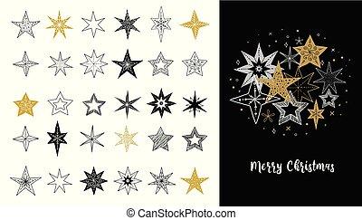 Sammlung von Schneeflocken, Sternen, Weihnachtsdekorationen, hand gezeichnete Illustrationen.