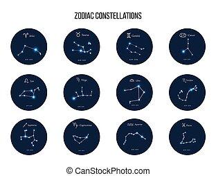 Sammlung von Sternbildern und Horoskopzeichen.