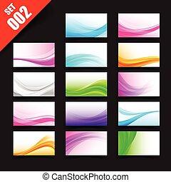 Sammlung von Visitenkarten und Banner Vorlage mit Kurvenwelle und Lichtelement, Abstract Hintergrund vektorgrafik Set 002.