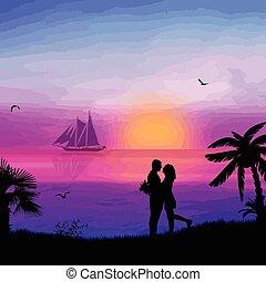 sandstrand, paar, romantische