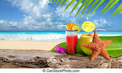 sandstrand, seestern, cocktail, tropische , kokosnuss