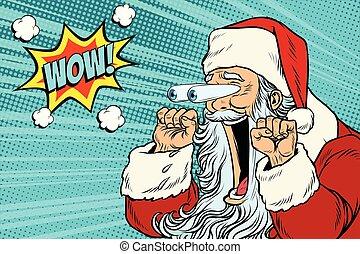 santa, hui, weihnachten, claus, emotional, reaktion, zeichen