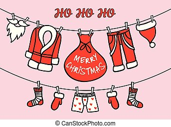 santa, rosa, karte, claus, vektor, wäscheleine, weihnachten