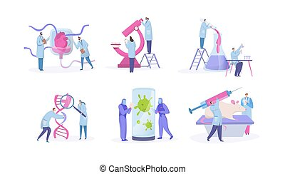 satz, begriff, forschung, winzig, weißes, wissenschaftler, charaktere, vektor, labor, karikatur, leute, freigestellt, abbildung