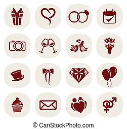satz, ikone, wedding