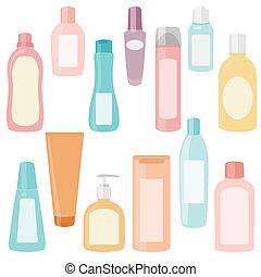 satz, kosmetikartikel, behälter