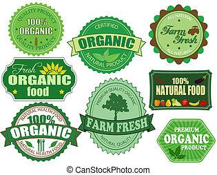 satz, organische , bauernhof, etiketten, lebensmittel, frisch, abzeichen