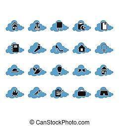 satz, rechnen, wolke, ikone