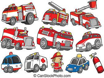 satz, transport, retten fahrzeug