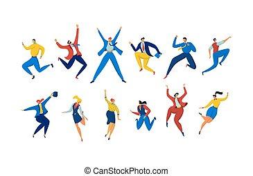 satz, vektor, geschäftsillustration, weißes, beiläufig, charaktere, freigestellt, leute, springen, karikatur, klagen