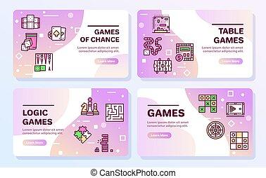 satz, vektor, ikone, farbe, spiele, linie, tisch