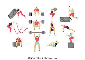 satz, vektor, training, weißes, abbildung, anfall, charaktere, kreuz, freigestellt, workout, leute, karikatur