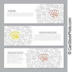 Satz von Vektor-Glücksspiel und Casino horizontalen Bannern mit Symbolmuster. Vector Illustration