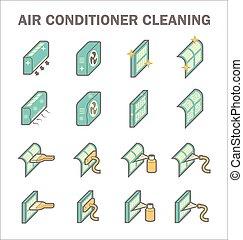 sauber, konditionieren, luft