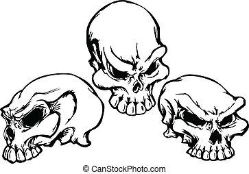 Schädelgruppe mit Grafikvektor I